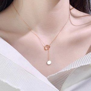 925 Sterling Silver/RoseGold Circle Necklace